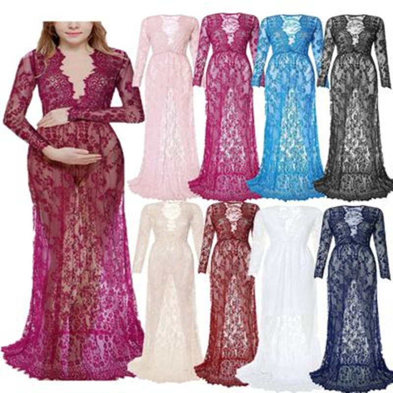 d888b0cc567 Fashion Maternity Photography Props Maxi Maternity Gown Lace Maternity  Dress Fancy Shooting Photo Summer Pregnant Dress Plus