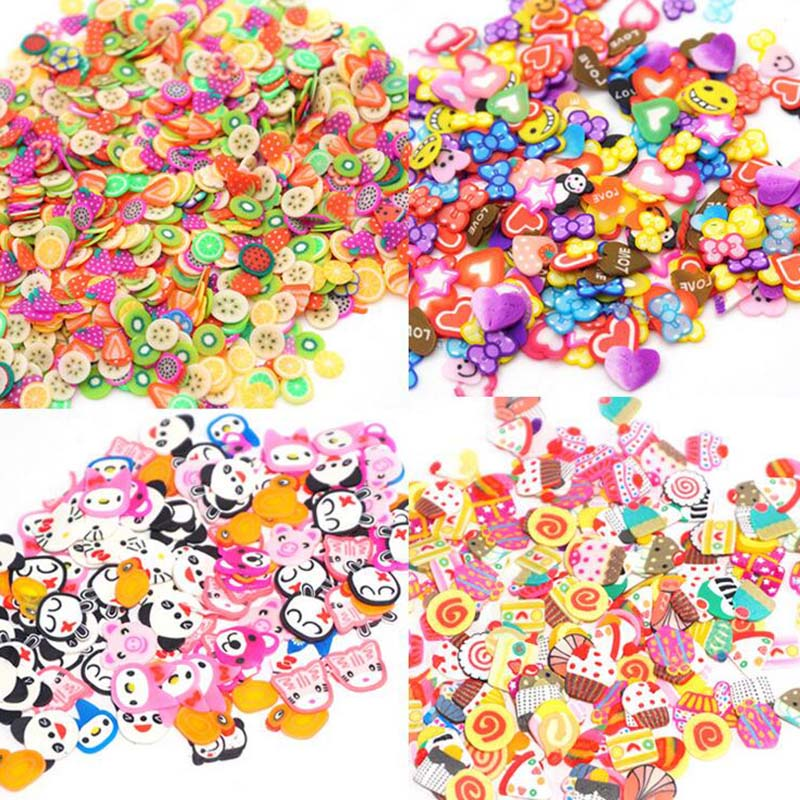 300Pcs/Pack DIY Slime Fruit/Flower/Pastry/Animal Slices Mobile Phone Stickers For Nails Art Tips/Slime Supplies Accessories
