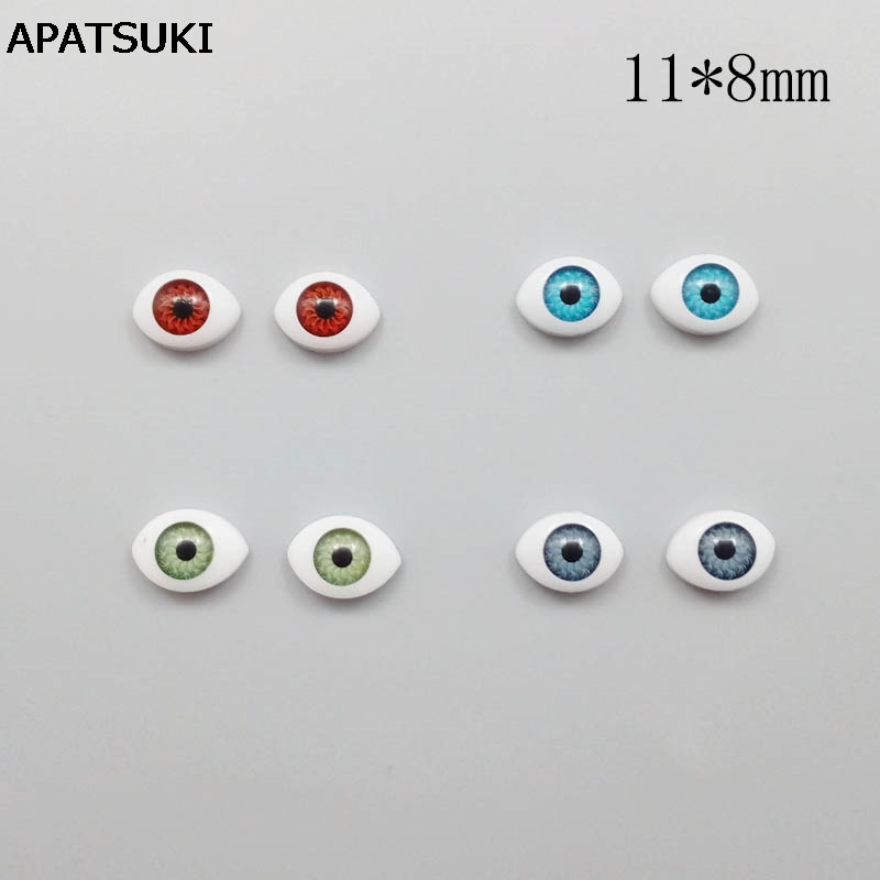 4pairs/lot 11*8mm DIY Eyes for BJD Dolls Replacement Silver Brown Green Blue Eyeballs DIY Accessories for Barbie Dollhouse [wamami] ew30 8mm light blue no pupil eyes for bjd dollfie glass eyes