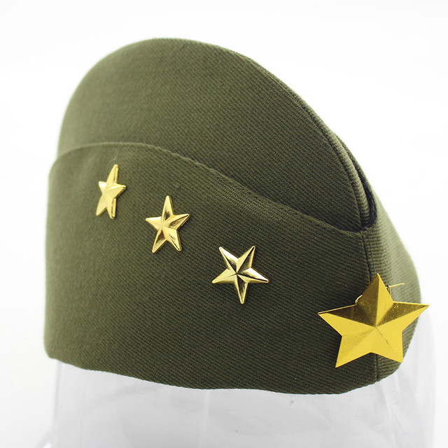 Women Miltary Side Hat Canvas Foldable Star Pilotka Garrison Army Caps  Cosplay Hat 7c041cc1c2a