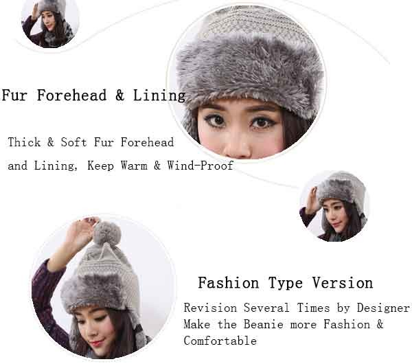 2016 Winter Warm Thick Women Knitted Fur Hat Knitted Fur Cps Lady Winter Warm Charm Beanies Caps Female Headgear  (11)