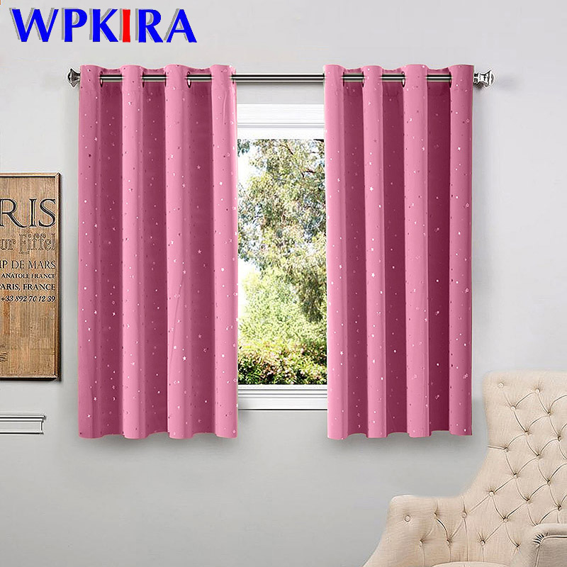 Shiny Stars Children Cloth Curtains For Living Room Kids Boy Girl Bedroom Blue/Pink Blackout Cortinas Custom Made Drape Wp123-45