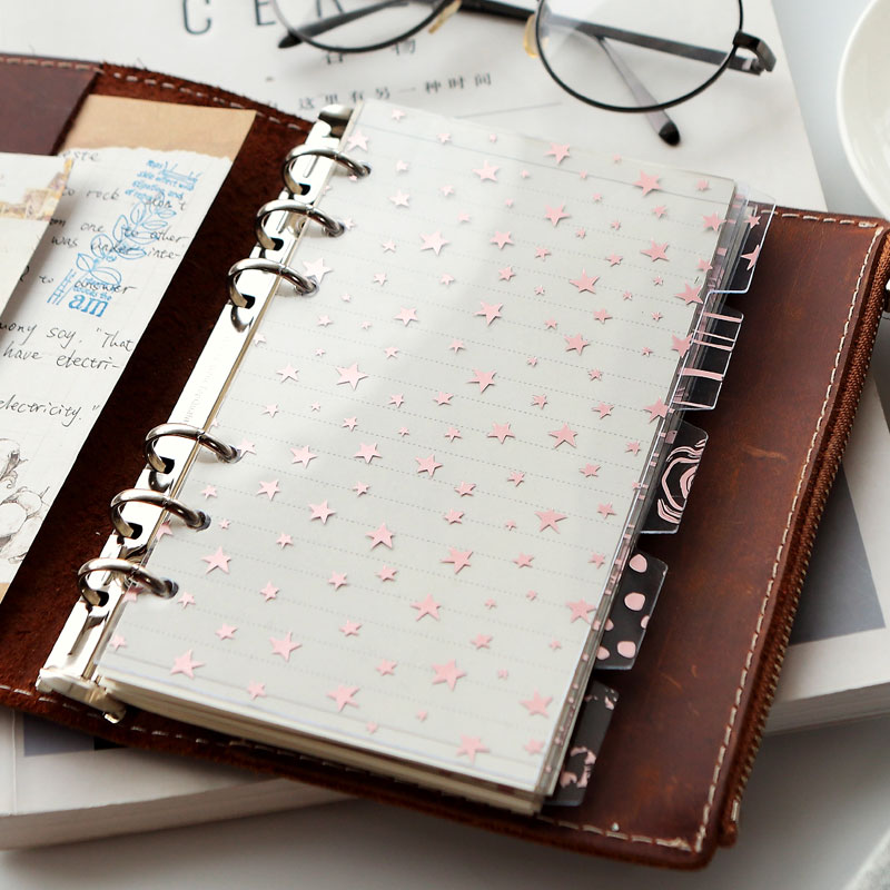 Rose Gold Kawaii Spiral Notebook Index Dividers A5A6 Planner Transparent PP Index Pages For Filofax Notebook School Stationery
