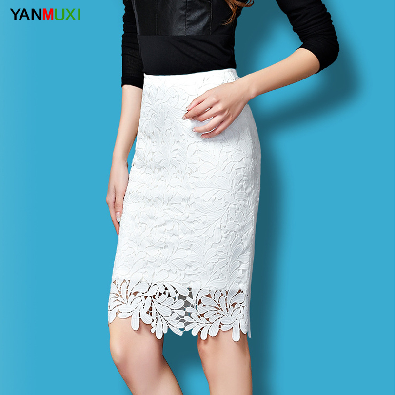 Mesh Black Green Women Lace Tulle High Waist Skirt Floral Party Hollowed Skirts