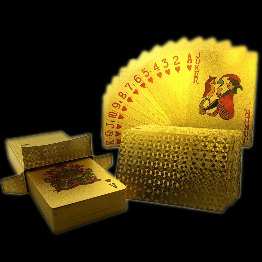 Washable 24K Golden Dragon Playing Cards PVC Waterproof 54pcs Poker Board Game Deck Durable Gold Plated Foil Poker Card Set (8)