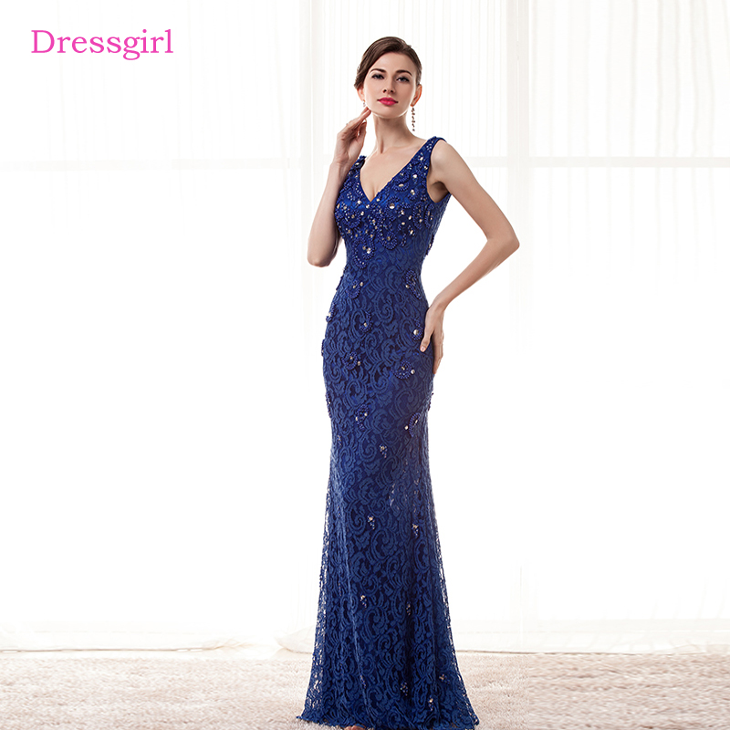 760a3e23b053 Royal Blue Evening Dresses 2019 Mermaid V-neck Pearls Crystals Lace Backless  Women Long Evening Gown Prom Dress Robe De Soiree