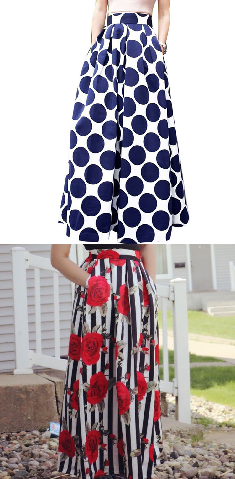 Plus size Maxi Skirt Summer Fashion Vintage High Street A-line High Waist Floral Polka Dot Long Skirts for Women 2020 Jupe Longa 30