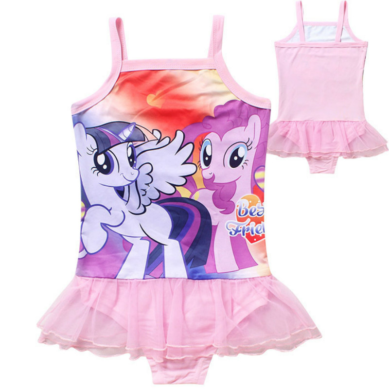 (4-12y)Monya2016 childrens Swimsuit girls one-piece childrens cartoon printing My pony small little Ma Baoli dress swimsuit