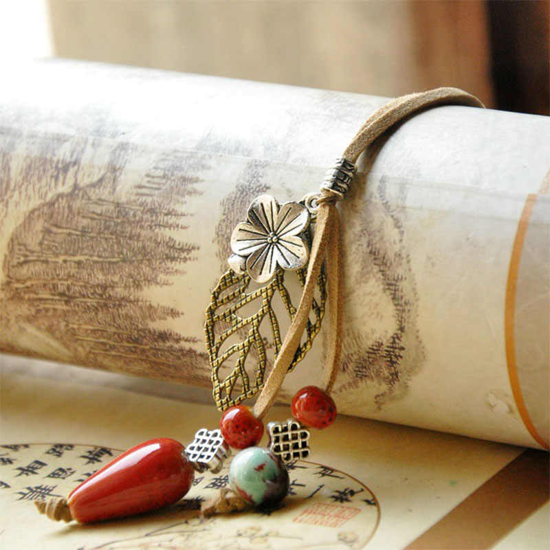 Water Drop Ceramic Beads Necklaces Women Leather Choker Flower Leaf Statement Charm Leaves Pendants PU Cord Chain Jewelry