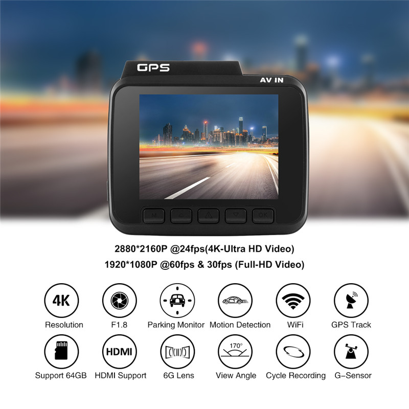 Image 2 - AZDOME GS63H 4K Dash Cam Built In GPS WIFI Car Camera With Real Camera Dvr WDR Night Vision Dashcam 24H Parking Monitor-in DVR/Dash Camera from Automobiles & Motorcycles