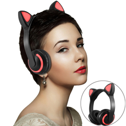 Bluetooth Headphone Wireless Ear Headphones Gaming Headset Cat Ear Flashing Glowing with led light Grils boys earbuds for phone