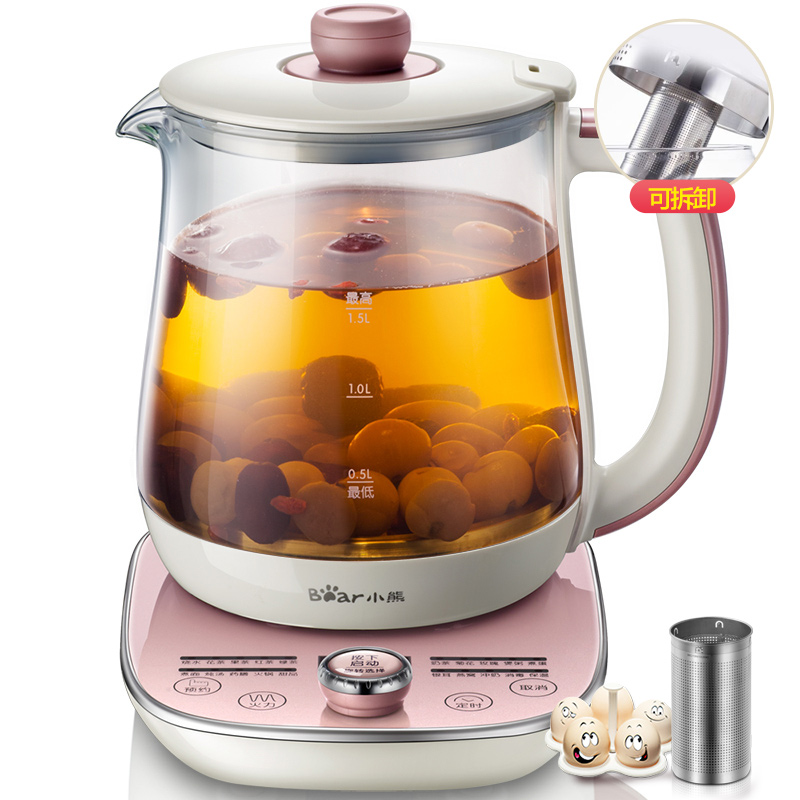Bear YSH A15E1 Health Pot Fully Automatic Thicker Glass Multifunction Tea Maker Flower Pots Milk Pot Temperature Display