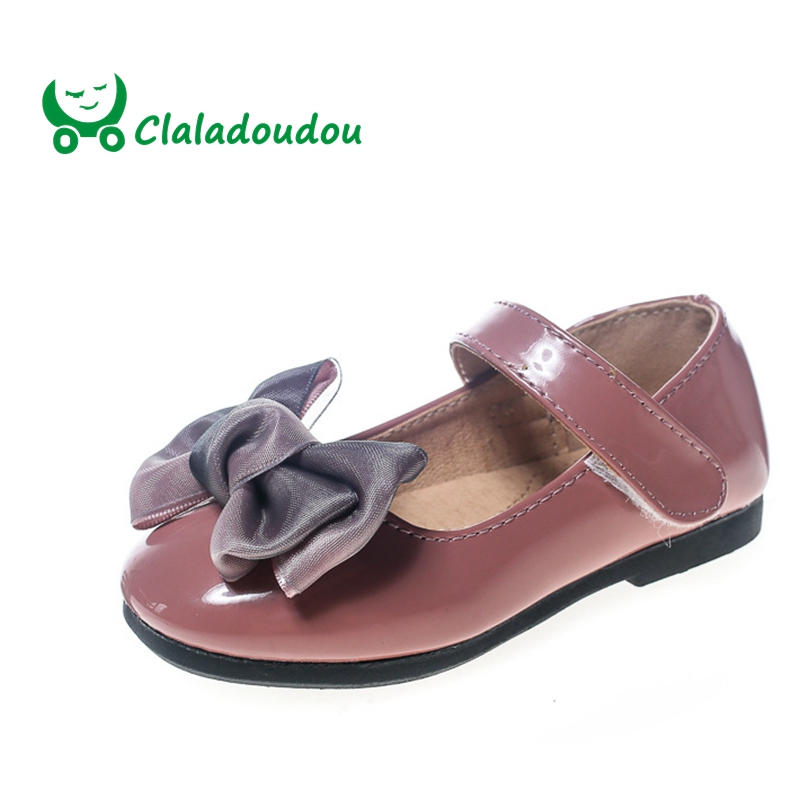 Claladoudou 13.5-15.5CM 2018 New Style Patent Leather Girl Flat Shoes Toddler Princess Shoes Big Bow Brand Kids Children Shoes