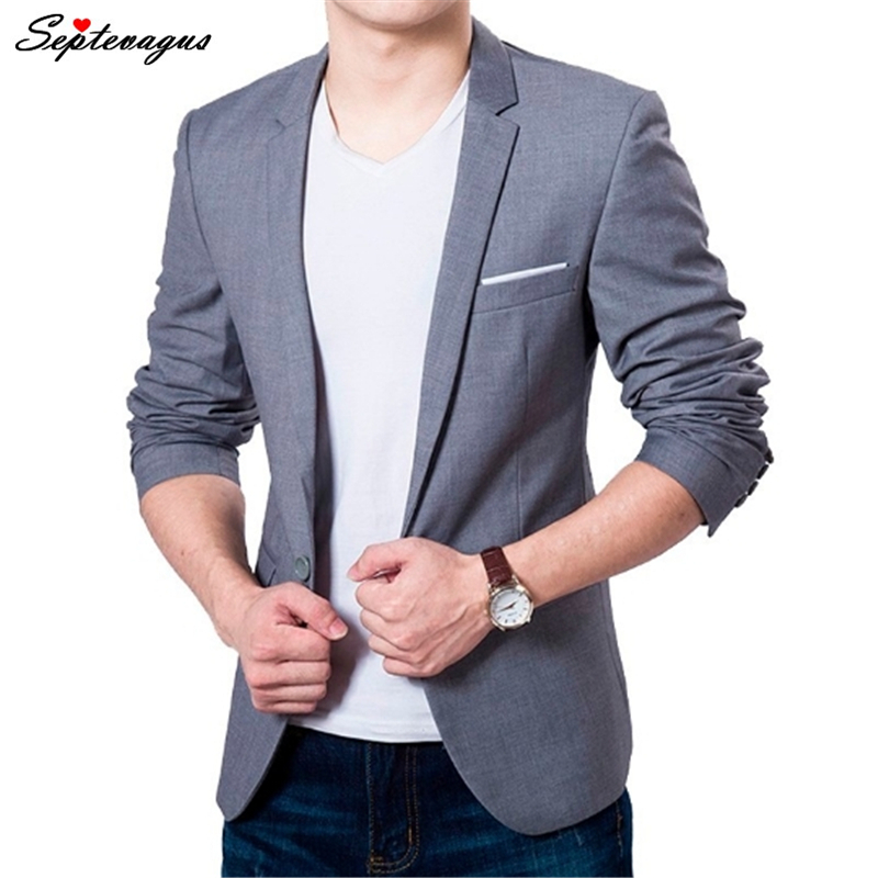 New Men's Spring Autumn Slim Fit Blazer Homme Jacket Coat 5XL 6XL Casual Suit Outwear Gray Blue;agasalho Masculino;blazer Homem