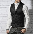 Mens classic Single Breasted Dress Suit Vest male Formal warm Wool lining leather waistcoats Suit Gilet Slim Jacket top homme