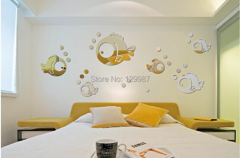 Acrylic Crystal Wall Decor: New Design Acrylic Bubble Fish Crystal Wall Mirror Sticker