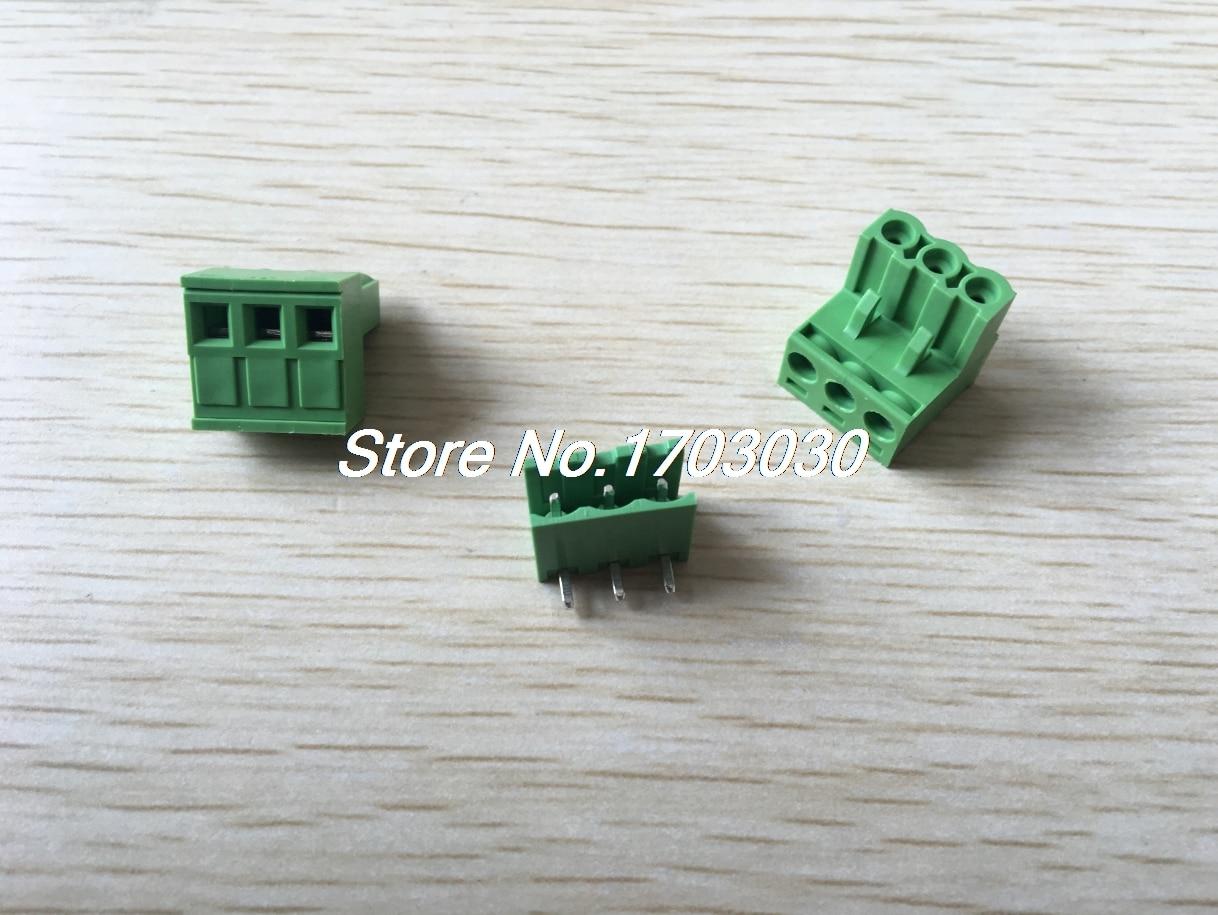 100 pcs 5.08mm Close Angle 3 pin Screw Terminal Block Connector Pluggable Type 150 pcs screw terminal block connector 3 5mm angle 3 pin green pluggable type