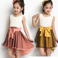 Summer Chiffon Vest Korean Lace Veil Children Princess Girls Dress Kids Clothing Yellow Pink Bow Mesh Lace