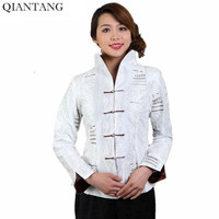 High Quality White Female Silk Satin Embroidery Jacket Coat Long Sleeves Flowers Size M L XL