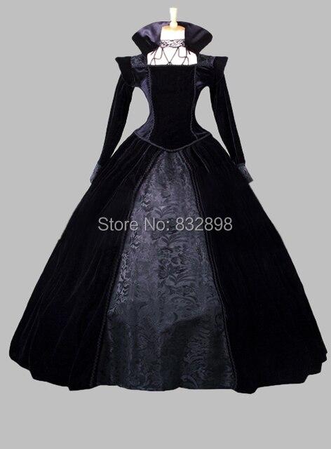 Gothic Pleuche And Print Satin Victorian Era Ball Gown Stage Costume