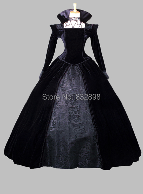 Gothic Pleuche and Print Satin Victorian Era Ball Gown Stage Costume Party Dress