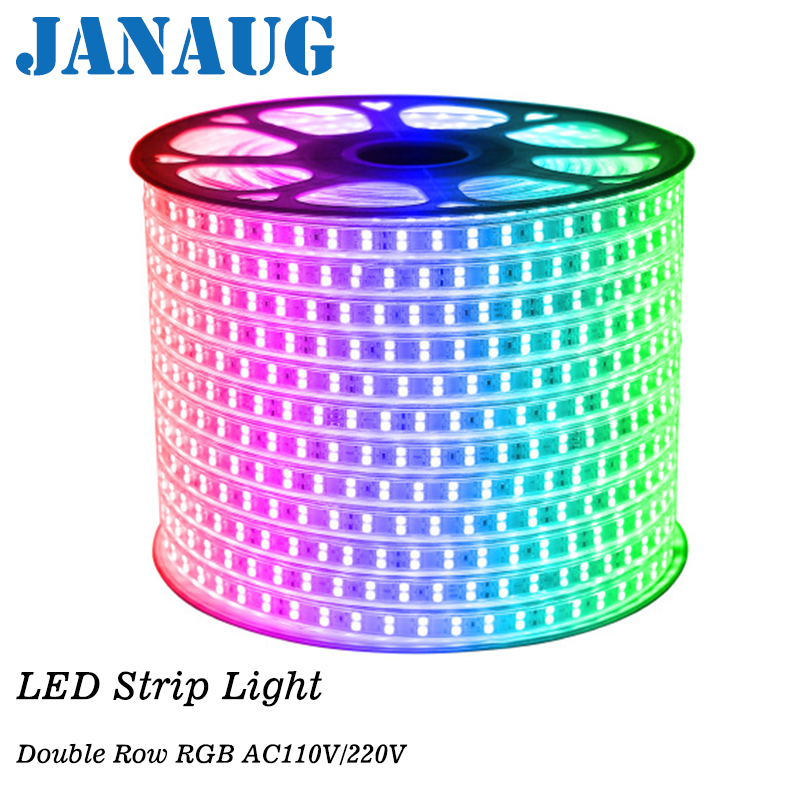 AC 220V RGB LED Strip Rope Light 5050 SMD Waterproof IP68 Silicone Tube 60LEDs/M 120leds/m + EU Controller Kit 1M/5M/6M/8M/20M