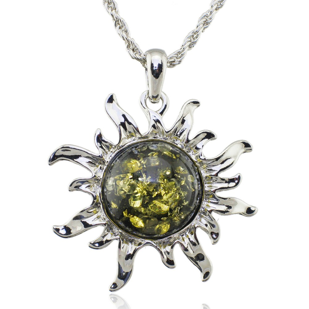 Fashion Hot Baltic Simulated Honey Sun Lucky Flossy Pendant Necklace Jewelry L00301