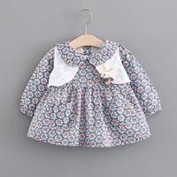 Autumn Vintage Cotton Floral Print Long Sleeve Doll Collar Baby Dress Waistcoat Kids Girls 2Pcs Princess