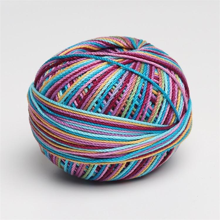 Размер 3 хлопок жемчуг пестрый 50 грамм мяч египетская длинноштапельная хлопковая пряжа газированная двойная мерсеризованная 6 нитей плетение - Цвет: 155