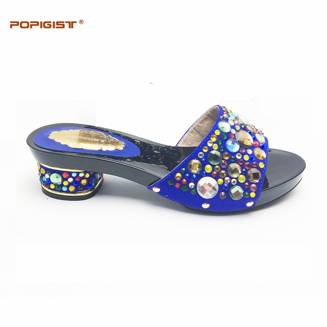 To Match For Ladies Wedding Dressing With Big Crystal Shining Italian Shoes  Without Bags Possible Matching Set Royal Blue 56e3f90199a4