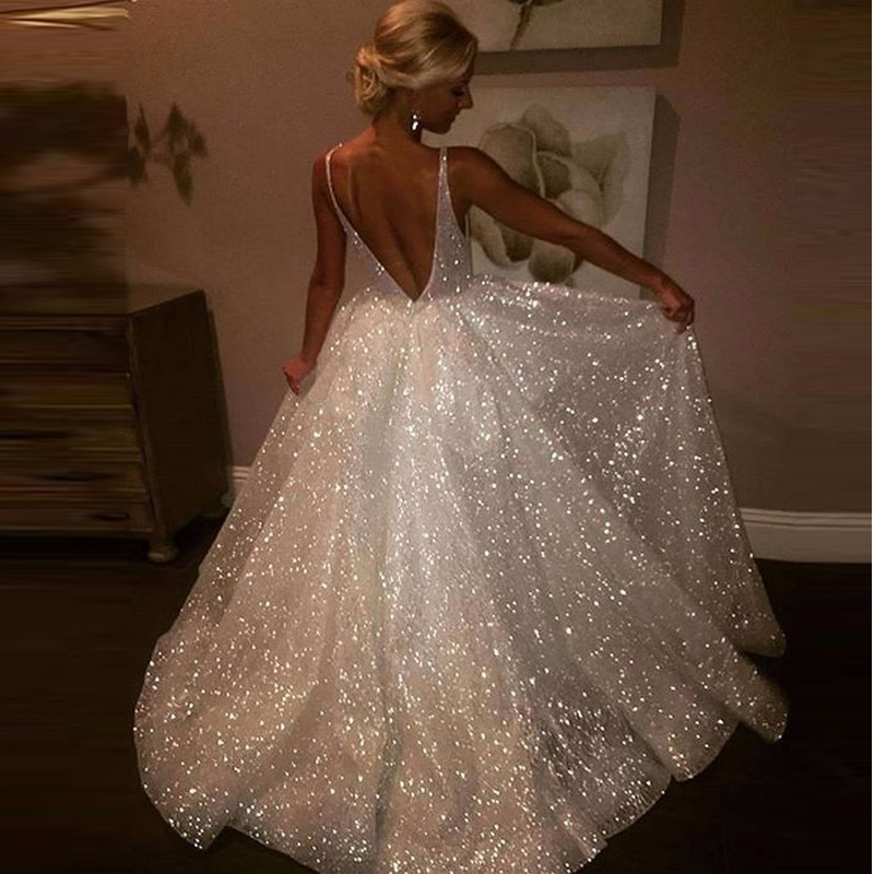 Women Formal Sequin Party Dress Sexy Deep V-neck Backless Maxi Dress Female Sleeveless Elegant White Sparkly Long Dress Vestidos
