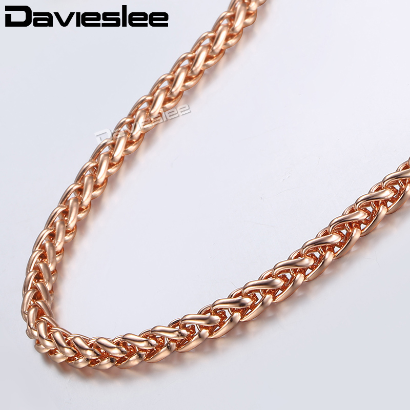 Davieslee Womens Necklace Chain 585 Rose Gold Filled Wheat Spiga Necklaces for Women Men Jewelry Wholesale 4mm 45-91cm LGN255