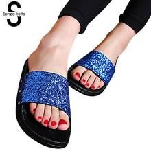 d28a3b1d4 Senza Fretta 2018 New Women Slides Sandals Sexy Open Toe Slides Female  Summer Beach Flip Flops Bling Glitter Platform Slippers
