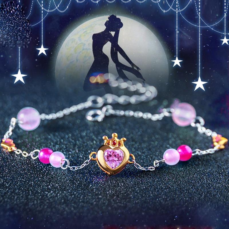 S925 bande dessinée marin lune bracelet à breloques Cardcaptor Sakura fleur perles chaîne bracelet bracelet Haert bijoux pour fille enfant cadeau
