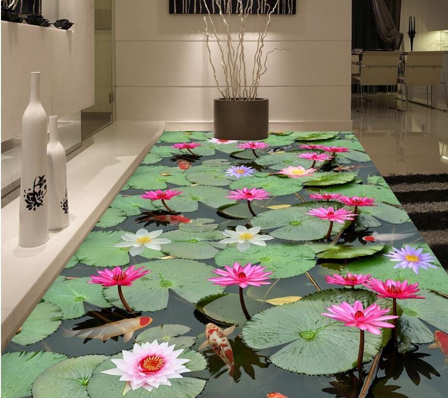 Custom 3D PVC floor wallpaper Lotus leaf lotus adhesive wear non-slip waterproof thickened self-adhesive photo Wall paper Murals недорого
