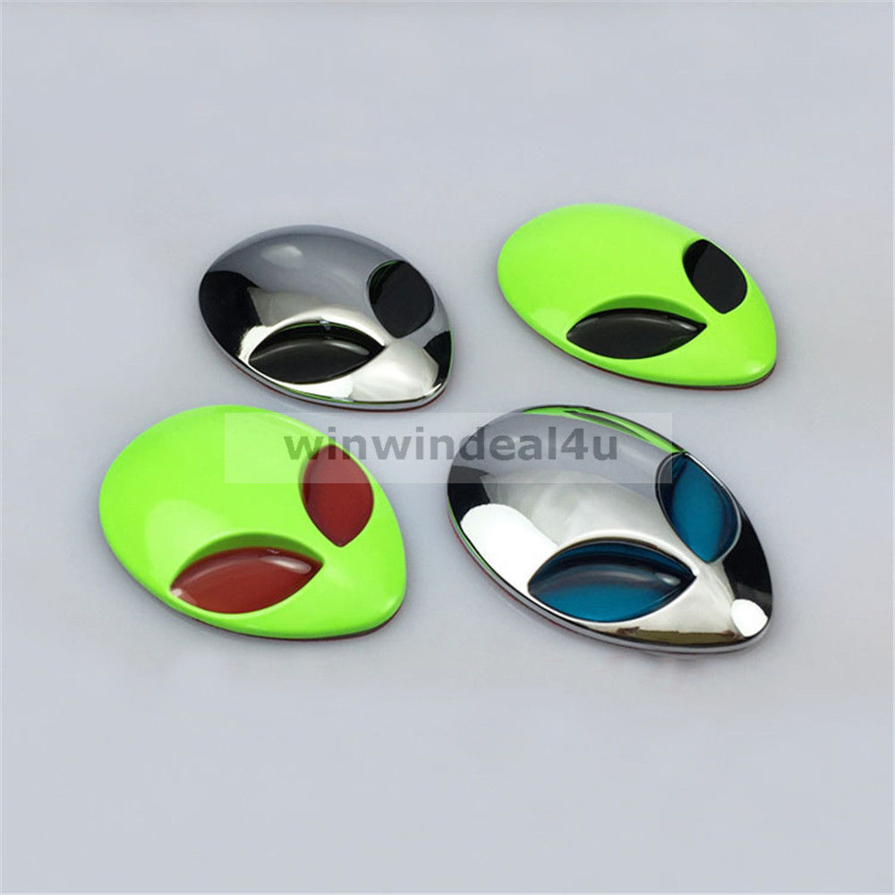 3D Alien ET Head UFO Metal Car Sticker Auto Motorcyle Badge Emblem Decals ...