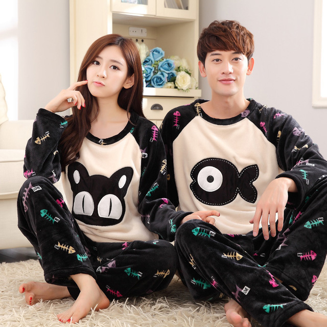 2f490eaab3 Winter Flannel Couple Pajamas Thicken Cute Lovers Pyjamas Couple Pajama  Sets Matching Couples Pajamas Femme Sleepwear Wome & men
