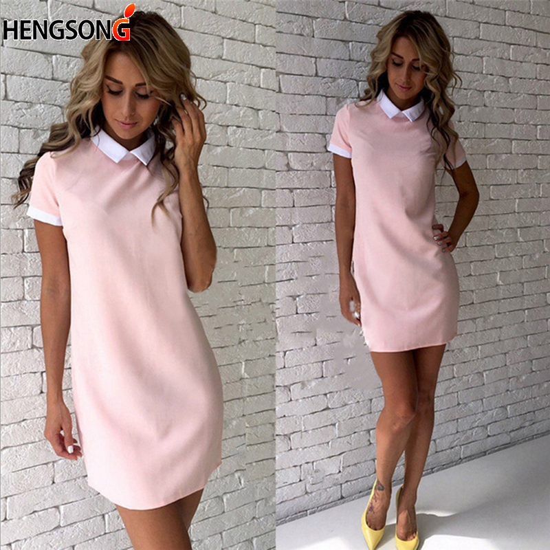 HENGSONG Women Summer Dress Casual Short Sleeve Solid Female Turn Down Collar Womens Office Dresses Woman Mini Dress Outfits