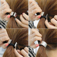 1 pc Chic Hair Clip Woman Girls Metal Elastic Ponytail Holder Hair Cuff Wrap Tie Band Ring Rope