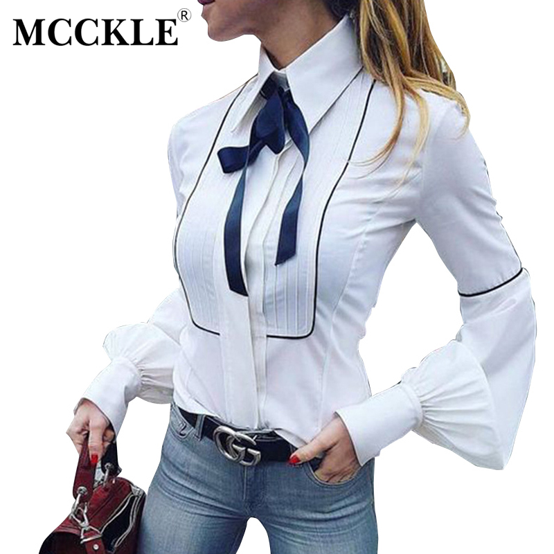 MCCKLE Women Long Sleeve Blouses Spring Fashion Bow Necktie Puff Sleeve Button Slim Shirts Elegant Office Lady Women Shirts Tops