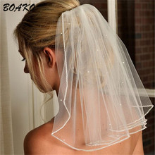 BOAKO Puffy Short Tulle White Wedding Veils Cheap 2019 Ivory Bridal Veil Single Tier Beaded Diamond Hair Jewelry Women Veils