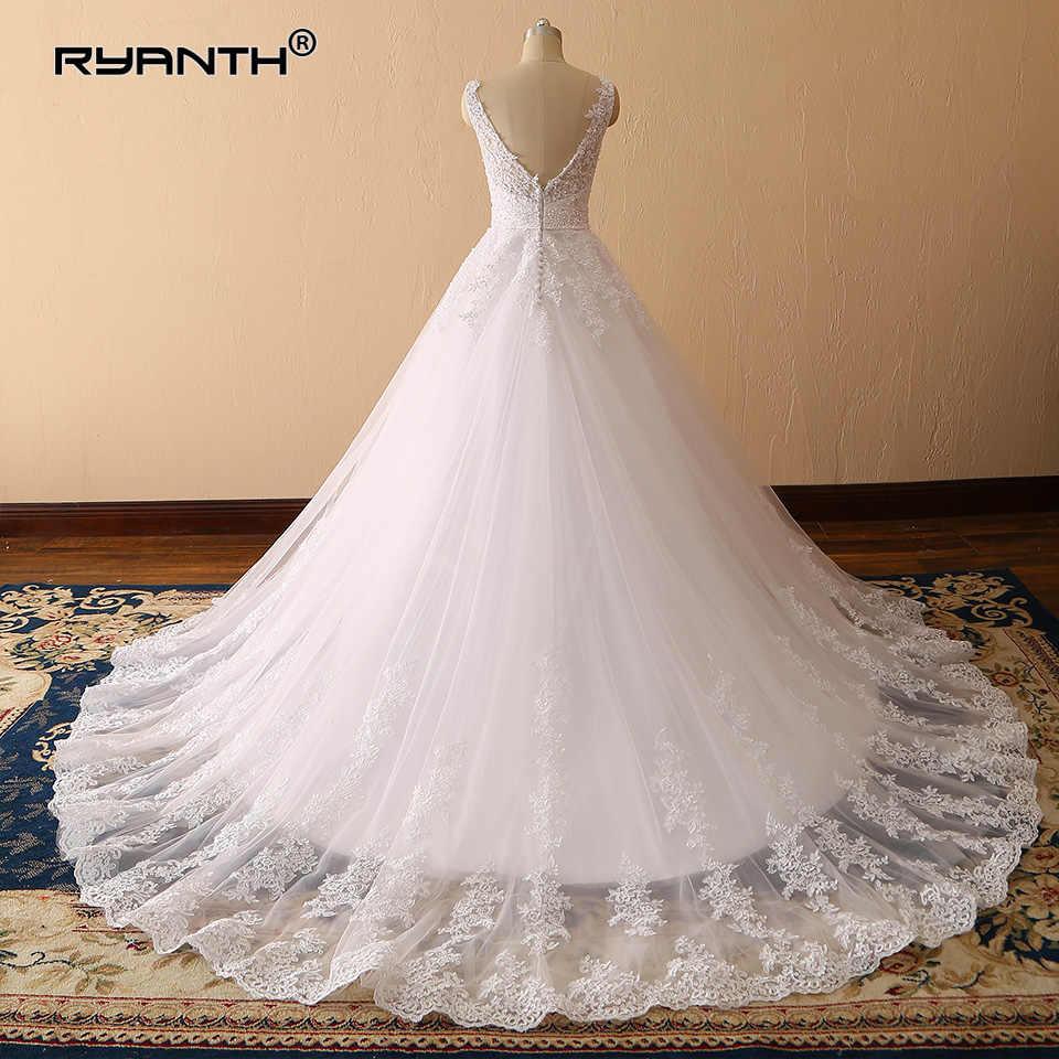 Vestidos de Novia 2019 Sexy Spaghetti Strap V Neck vestido de Baile Vestido de Casamento de Luxo Princesa Lace Robe de mariage Personalizado feito
