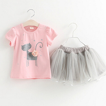 Children Clothing Suits For Girls Short Sleeve Yarn Skirt Cartoon Cat Pattern T-Shirt  For 3-8Y Old Children's Suits For Girl