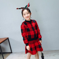 2018 New Girls Spring Clothing Sets Two Pieces Knitting Plaid Red Black White Brithish Style Lady