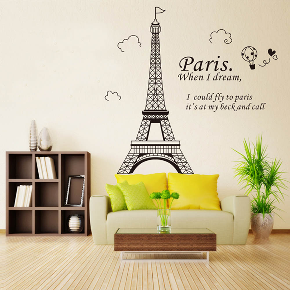 Aliexpress buy romantic paris eiffel tower beautiful view of aliexpress buy romantic paris eiffel tower beautiful view of france diy wall stickers wallpaperart decor mural room decal from reliable tower model amipublicfo Images