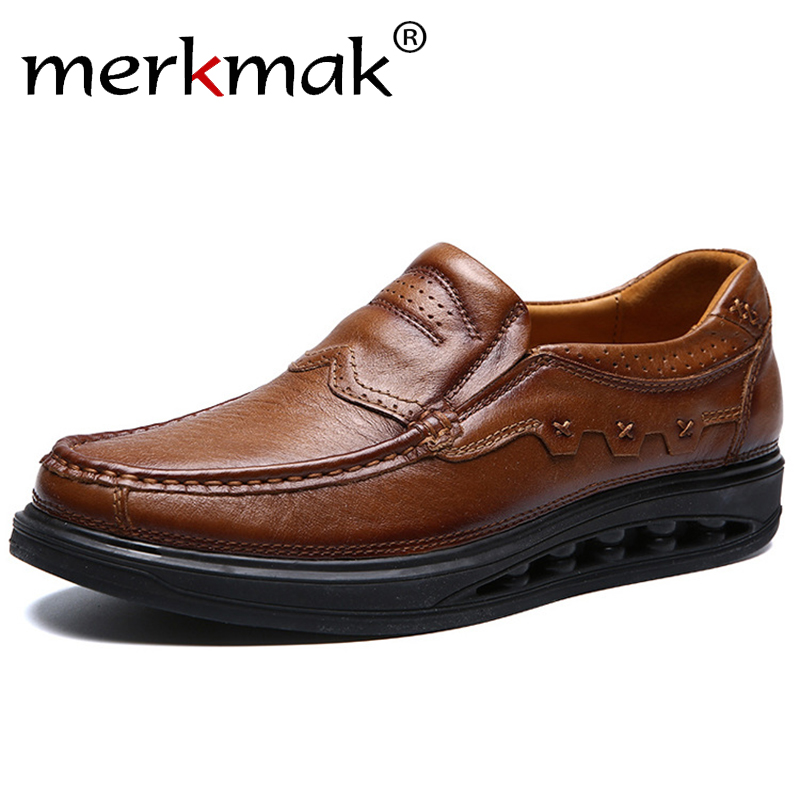 Merkmak Shoes Men Loafers Soft Moccasins High Quality Spring Summer Genuine Leather Shoes Men Thick Sole Gommino Driving Shoes