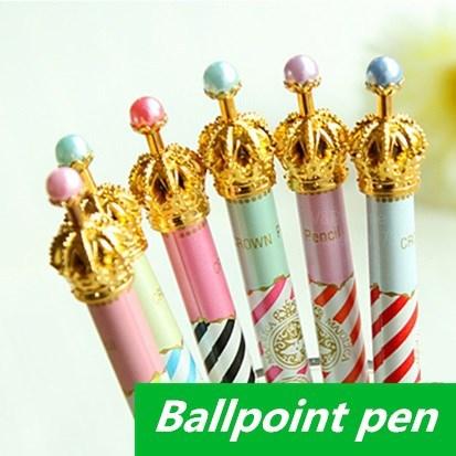60 pcs Lot Wholesale Crown ballpoint pens Kawaii Stationery bulk ballpen Caneta Novelty Office accessories school