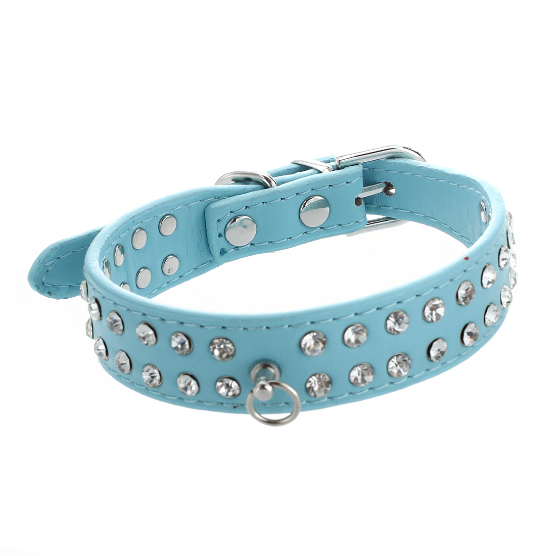 Practical Boutique PU Leather Strap Necklace for Pet Dog Zircons Blue Size S