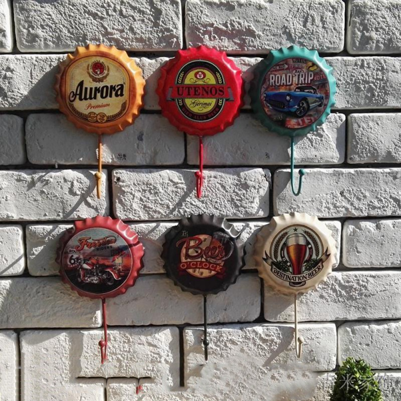 Unique Beer Bottle Cap Wall Hanging Hooks Wrought Iron Soft Decors Door Back Clothes Hooks For Living Room