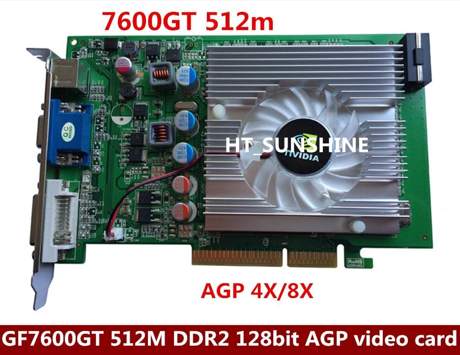nVIDIA GeForce 7600GT 512MB DDR2 AGP 4X 8X VGA DVI Video Card dhl ems free shipping new ati radeon 9550 256mb ddr2 agp 4x 8x video card from factory 50pcs lot